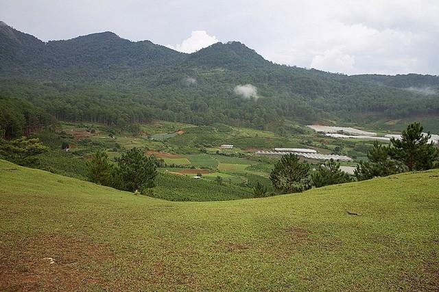 cảnh quan đường leo núi Lang Biang