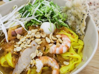 Lunch in Dalat - The familiar Quang-style noodles is also available in Dalat